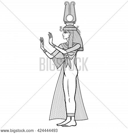 Animation Linear Portrait: Beautiful Egyptian Woman In Ancient Clothes With A Crown Extends His Hand