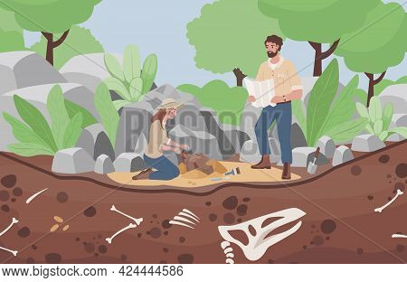 Archaeological Excavation Vector Flat Illustration. Men And Women Scientists In History Expedition.