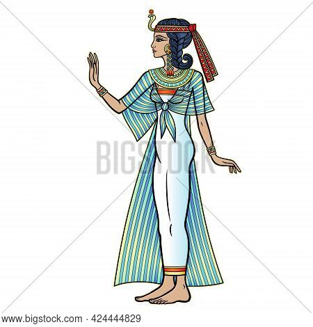 Animation Color Portrait: Beautiful Egyptian Woman In Ancient Clothes Extends His Hand. Full Growth.