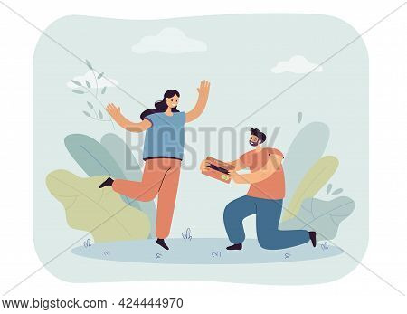 Husband Giving Credit Card To Wife. Kneeling Male Character Offering Debit Card To Woman Flat Vector
