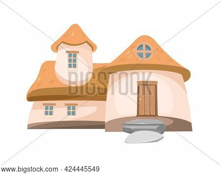 Fairytale Funny House Isolated. The Dwelling Of The Gnome. Beautiful Cartoon Illustration On A White