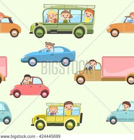 Children Drive Cars And Bus. Seamless Cartoon Pattern. Kids Motorists. Childrens Background Illustra
