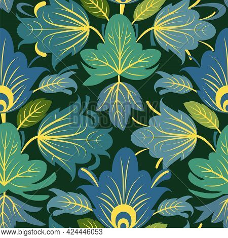 Summer Vegetable Seamless Pattern. Nice. Beautiful Ornament With Interlacing Branches And Flowers On