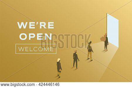 We Are Open Vector Flat Poster Design. People Standing In Line Against Open Door. Advertising And Pr