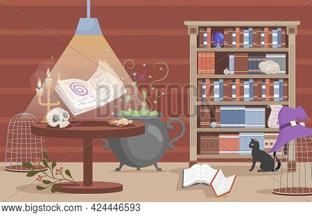 Interior Of The House Of Witch Vector Flat Cartoon Illustration. Preparing Poison In The Cauldron, S