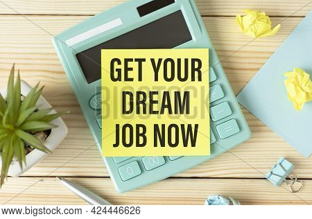 Manager Holding Tablet Pc With Get Your Dream Job Now Text On Screen.