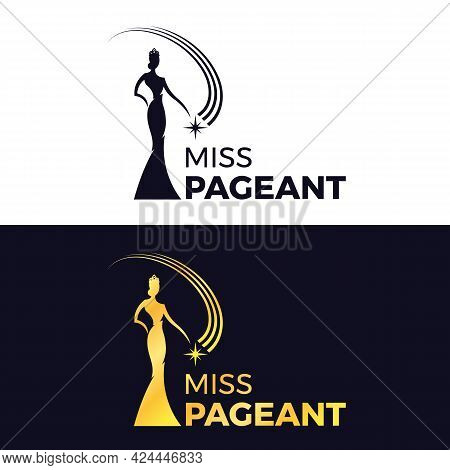 Miss Pageant Logo - Black And Gold The Beauty Queen Pageant Wearing A Crown And Holding A Floating S