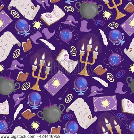 Magic Seamless Pattern. Preparing Poison In Cauldron, Taro Cards, Candles, Prediction Ball, Magic Bo