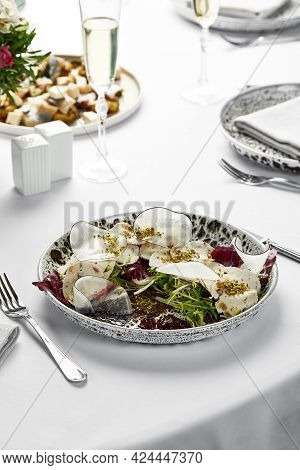 Traditional Italian Appetizer Vitello Tonato Thinly Sliced Pieces Of Marinated Veal Light Background