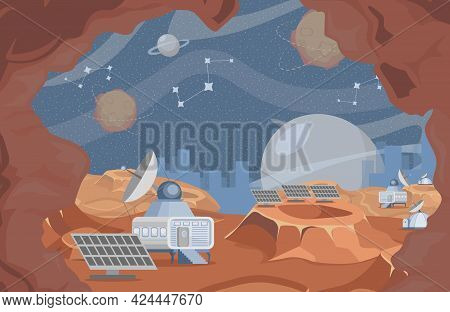 Space Exploration Vector Flat Illustration. Rover On Planet Surface, Planet Exploring, Scientific Re