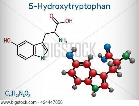 5-hydroxytryptophan, 5-htp, Hydroxytryptophan, Oxitriptan Molecule. It Is Naturally Occurring Amino