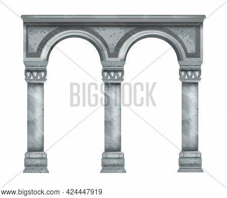 Stone Roman Arch, Greek Marble Ancient Column, Antique Classic Roman Isolated Temple Pillars. Renais