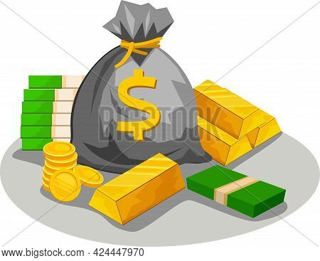 Illustration Of A Money Bag. Dollars And Gold Coins Are Stacked In A Stack. Gold Bars. An Icon Of We