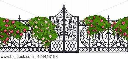 Iron Gate Seamless Border, Metal Vector Old Garden Fence Frame, Wrought Manor Entrance On White. Got