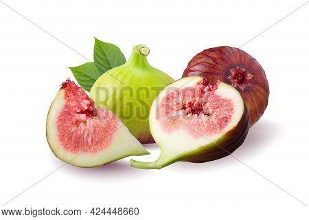 Fresh Figs Fruit Isolated On White Background.