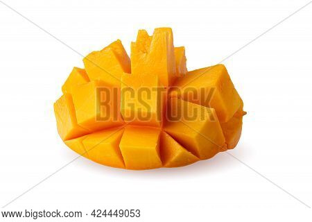 Mango Cubes And Mango Slices Isolated On A White Background.