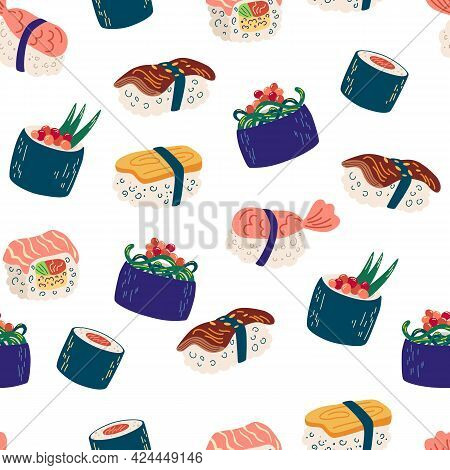 Seamless Pattern With Sushi And Rolls. Seafood Illustration, Philadelphia, Maki And Nigiri, Yummi Ja