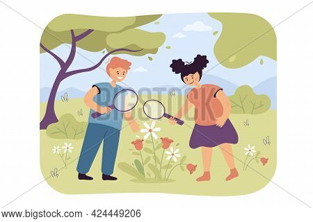 Little Cartoon Children Playing Biologists With Magnifying Glass. Flat Vector Illustration. Girl And