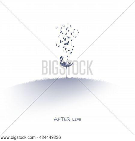 Flamingo And Flying Birds. Endangered Animal. Isolated Ink Element