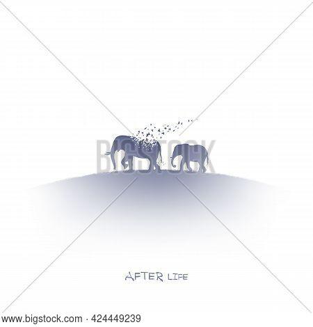 Elephant Family, Flying Birds. Endangered Animal. Isolated Ink Element