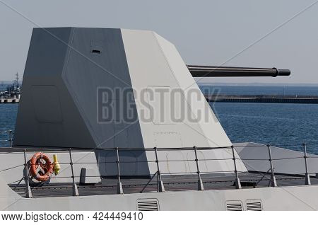 Gdynia - Poland - 2021: Gun Turret On Deck The Italian Guidet Missile Frigate