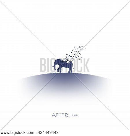 Elephant And Flying Birds. Endangered Animal. Isolated Ink Element