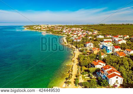 Aerial Top View Of Village Petrcane, Croatia. Touristic Background With Blue Sea, Coastline And Red