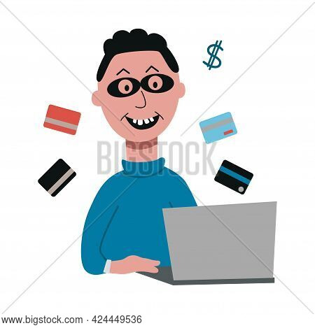 Hacker Attack And Money Stealing With Evil Man In Mask. The Fraudster Sits At The Laptop. Cyber Frau