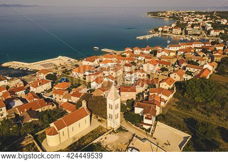 Aerial Top View Of Village Petrcane, Croatia. Touristic Background With Blue Sea And Red Roofs. Zada