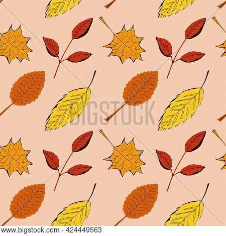 Seamless Pattern With Autumn Leaves Of Different Trees. Vector Texture For Design Of Clothes, Fabric