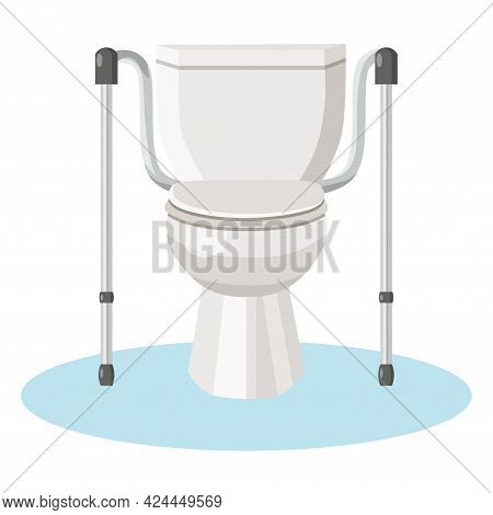 Toilet With Autonomous Safety Handrails For The Elderly And People With Disabilities. Vector Flat Il
