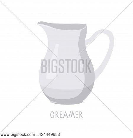 Creamer, Small White Jug With Sock And Handle For Milk Or Cream, Kitchen Utensils. Ceramic Tea Or Co