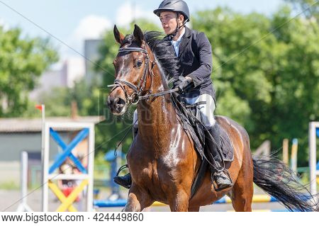 Young Man On His Course Show Jumping Competition