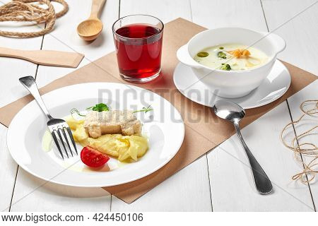 Creamy Broccoli Soup, Mashed Potatoes With Car Shaped Chicken Patty, Berry Drink