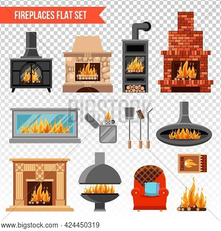 Flat Set Of Fireplaces Of Various Material Soft Armchair And Tools For Lighting Fire Isolated On Tra
