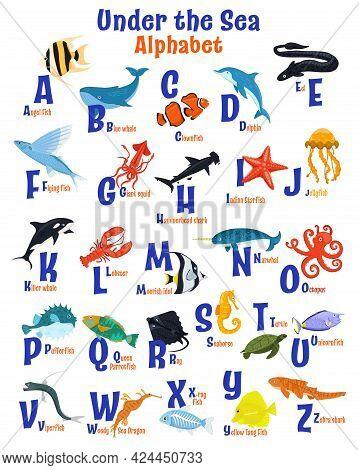 Sea Animals Alphabet Poster. Abc For Children.