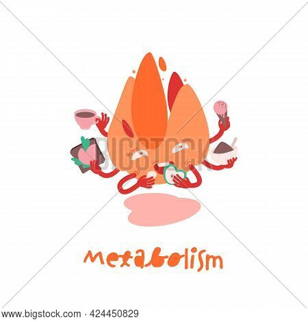 Metabolism Character Icon. Medical Pictogram. Chemical Process Sign.