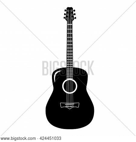 Guitar Icon Vector, Acoustic Musical Instrument. Isolated On White Background. Flat Style For Graphi