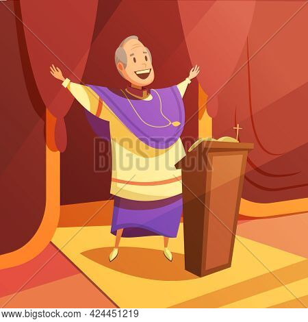 Pope And Church Cartoon Background With Religion And Faith Symbols Vector Illustration