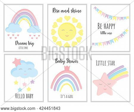 Baby Shower Vector Cards. Hello Baby Cards With Clouds, Rainbows, Stars And Phrases: Dream Big, Litt