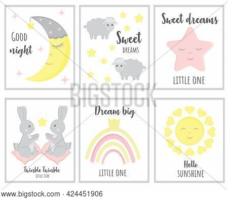 Set Of Cute Baby Shower Cards Including Moon, Clouds, Stars, Bunny, Sheeps And Modern Calligraphy Ph