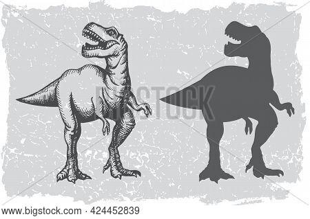 Dinosaur Tyrannosaurus Grafic Hand Drawn And Silhouette Illustration. Animal Vector Drawing Isolated