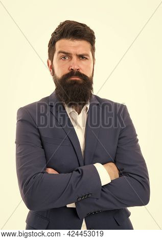 Fashion Model With Long Beard And Mustache. Business People Fashion Style. Facial Hair And Grooming.