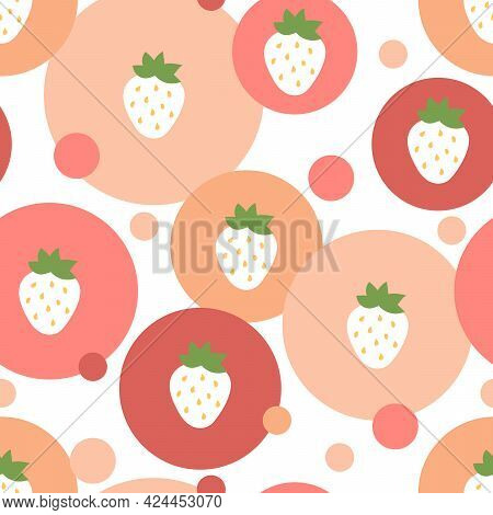 Strawberry Seamless Pattern. White Strawberries In Pink And Red Circles. Sweet Dessert Flat Vector B