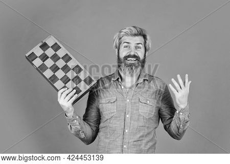 Hobby And Leisure. Intellectual Games. Intelligent Bearded Hipster. Cognitive Skills. Chess Lesson.