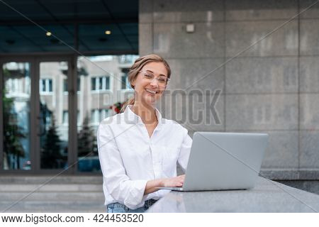 Businesswoman Successful Woman Use Laptop Business Person Outdoor Corporate Building Exterior Caucas