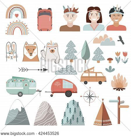 Set Of Summer, Camping Equipment, Landscape Elements, And Kids Dressed In Tribal Style. Trailers, Tr