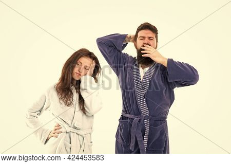 Go To Bed. All Day Pajamas. Sleepy People White Background. Couple In Love Bathrobes. Drowsy And Wea