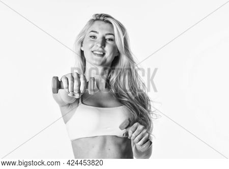 Sport Is Our Life. Female Fitness Girl Lifting Dumbbell. Sports Club Workout. Barbell At Training. S