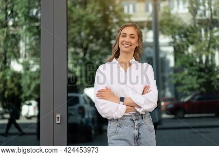 Businesswoman Successful Woman Smiling Business Person Standing Outdoor Corporate Building Exterior